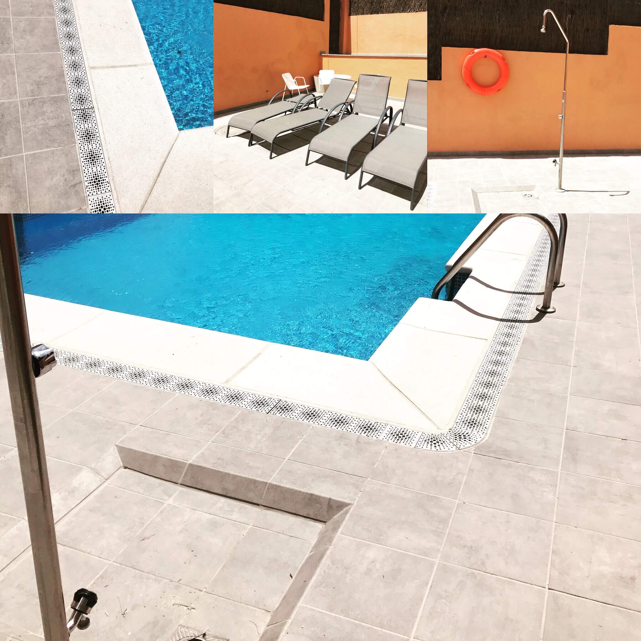Piscina. Modificación suelo: antideslizante y transmisor de poco calor.